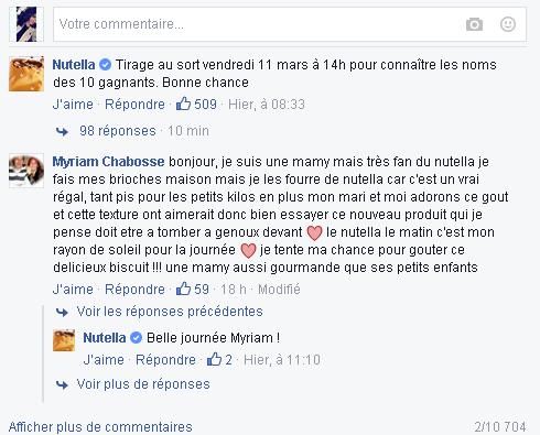 Exemple de commentaire sur la page Facebook de Nutella .