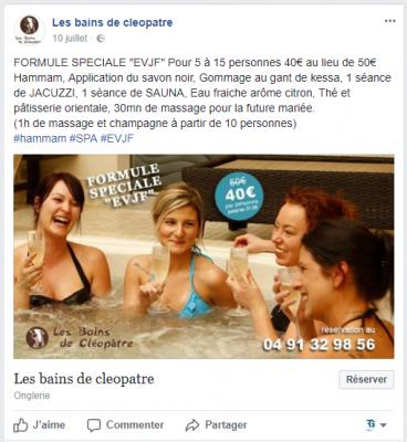 Publication Facebook Les bains de Cléopatre