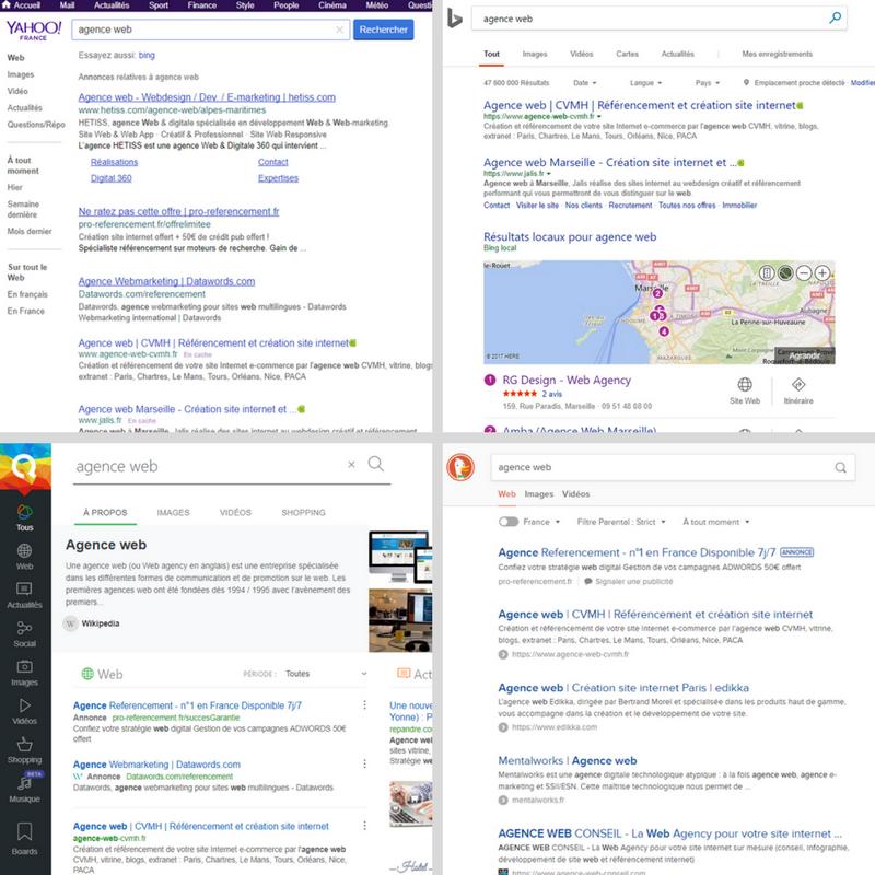 Différents moteurs de recherche