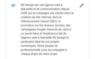Capture de description Google My Business