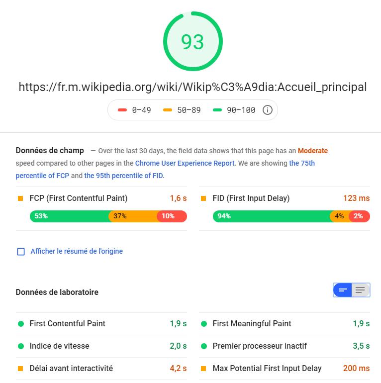 Résultat google pagespeed