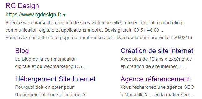 Exemple de metadescriptions dans la SERP