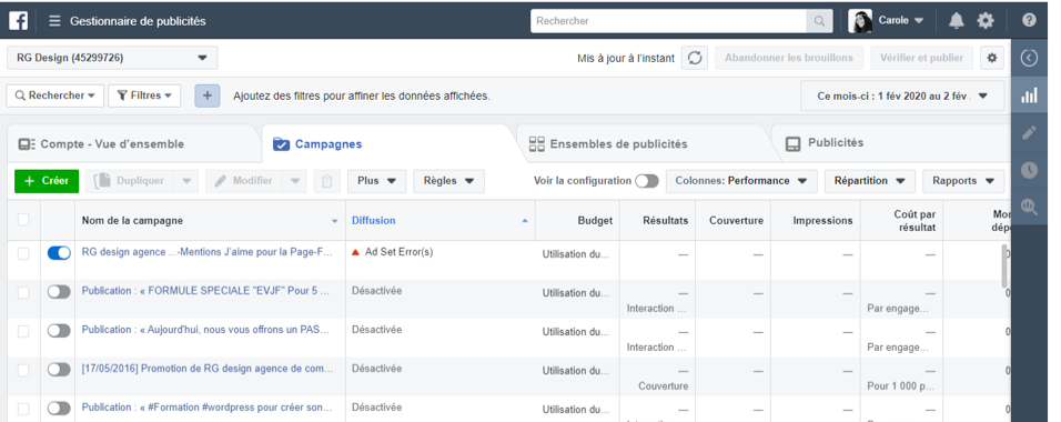 campagne facebook interface de gestion