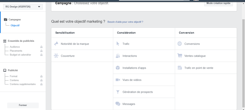 campagne facebook choix d'un objectif